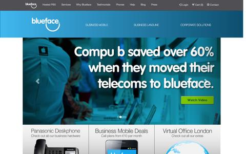 Screenshot of Home Page blueface.ie - Blueface is a high growth, innovative and dynamic IP telephony services company - captured June 17, 2015