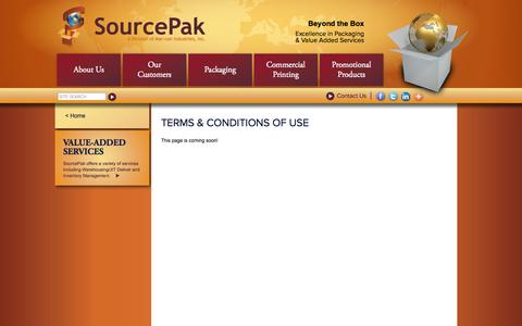 Screenshot of Terms Page sourcepakinc.com - SourcePak, Inc. - Terms & Conditions of Use - captured Oct. 9, 2014