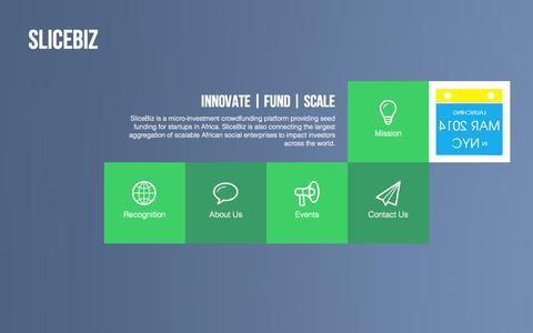Screenshot of Home Page slicebiz.com - SliceBiz   Innovate. Fund. Scale - captured Sept. 30, 2014