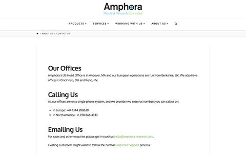 Screenshot of Contact Page amphora-research.com - Contact Us | Amphora Research Systems - captured Feb. 6, 2016