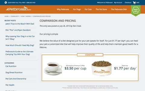 Screenshot of petbrosia.com - How It Works / Comparison and Pricing / Comparison and Pricing / Petbrosia: Best Dog and Best Cat Food | Custom Designed Pet Food - captured June 16, 2015