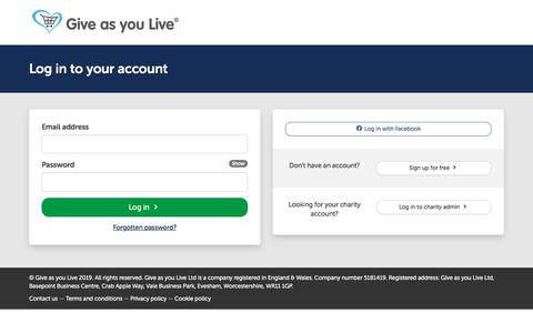 Screenshot of Login Page giveasyoulive.com - Log into your account | Give as you Live - captured July 11, 2019