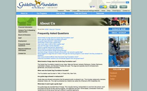 Screenshot of FAQ Page guidedog.org - The Guide Dog Foundation for the Blind Inc - Frequently Asked Questions - captured Oct. 1, 2014