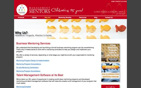Screenshot of Services Page management-mentors.com - Business Mentoring Services - Talent Management Software - captured Sept. 19, 2014