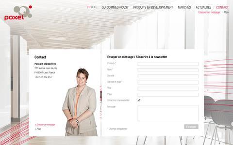 Screenshot of Contact Page poxel.com - Contact  POXEL - Poxel développe des médicaments innovants et exclusifs pour le traitement des maladies métaboliques, en particulier le diabète de type 2 - captured Sept. 10, 2014