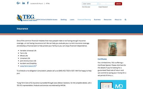 Screenshot of tegfcu.com - Insurance – TEG Federal Credit Union - captured Dec. 2, 2017
