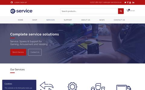 Screenshot of Services Page e-service.co.uk - Services - E-Service - captured Sept. 25, 2018