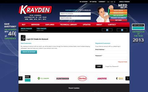 Screenshot of Login Page krayden.com - Customer Login - Krayden - captured Nov. 27, 2016