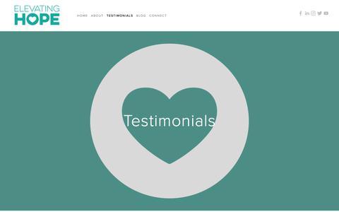 Screenshot of Testimonials Page elevatinghope.org - Testimonials — Elevating Hope - captured July 26, 2017