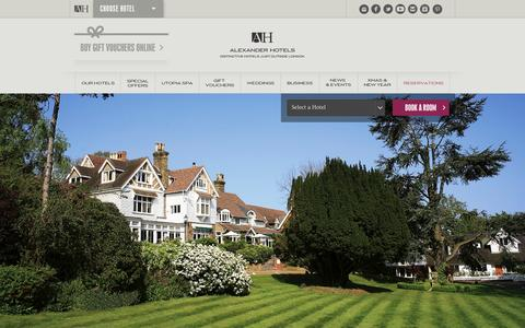 Screenshot of Home Page alexanderhotels.co.uk - Luxury Boutique Hotels Near London and Spa Hotels | Alexander Hotels - captured Sept. 22, 2014