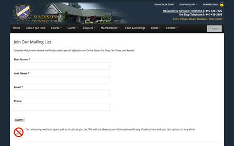 Screenshot of Signup Page madisoncountryclub.com - Join Our Mailing List - Madison Country Club - captured Sept. 30, 2014