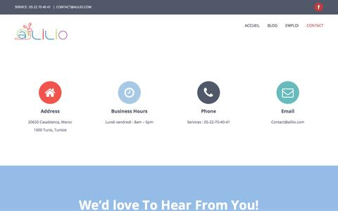 Screenshot of Contact Page alilio.com - Contact - Alilio S.A.R.L contact : 05 22 70 40 41 CONTACT@ALILIO.COM - captured July 29, 2018
