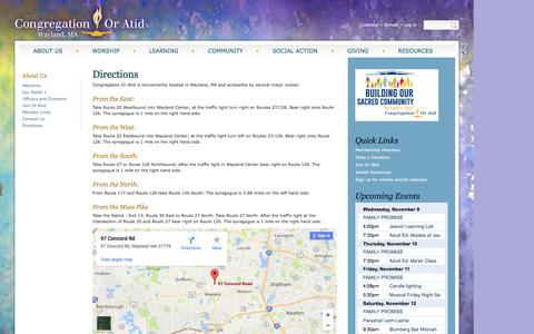 Screenshot of Maps & Directions Page congregationoratid.org - Directions | Congregation Or Atid - captured Nov. 10, 2016