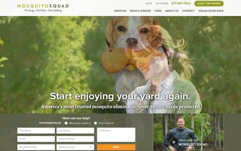 Screenshot of Home Page mosquitosquad.com - Mosquito Squad | Mosquito Sprays, Tick Control & More - captured June 17, 2015