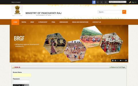 Screenshot of Login Page panchayat.gov.in - Ministry of Panchayati Raj , Govertment of India - National Panchayat Portal - captured Oct. 30, 2014