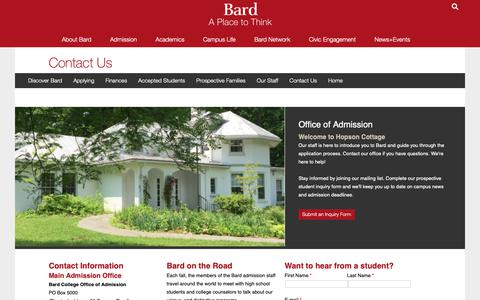 Screenshot of Contact Page bard.edu - Contact Us - captured May 25, 2019