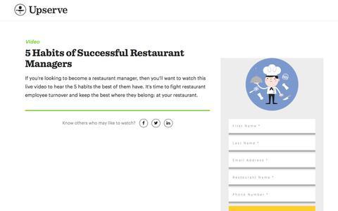 Screenshot of Landing Page upserve.com - Become A Restaurant Manager: 5 Habits You Need  | Upserve - captured Aug. 11, 2017
