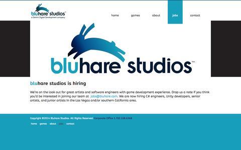 Screenshot of Jobs Page bluhare.com - Bluhare Studios | Jobs - captured Oct. 1, 2014