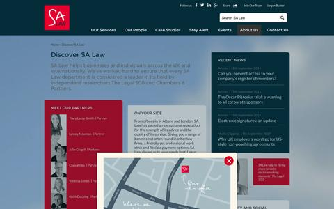 Screenshot of About Page salaw.com - Discover SA Law - Solicitors in London & St Albans (Hertfordshire) - SA Law - captured Sept. 19, 2014