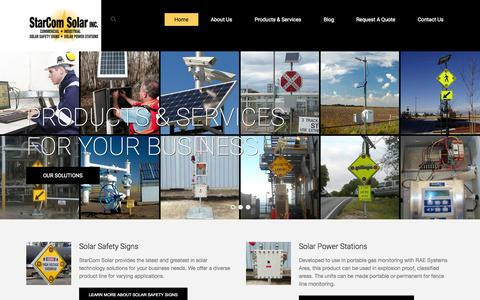 Screenshot of Home Page starcomsolar.com - Solar Powered Safety Signs From StarCom Solar - The Leader In Custom Solar Safety Signs - captured Jan. 29, 2015