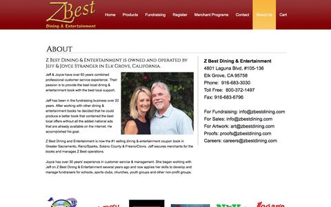 Screenshot of About Page zbestdining.com - About Us | Z Best Dining & Entertainment | Elk Grove, CA - captured Sept. 24, 2016