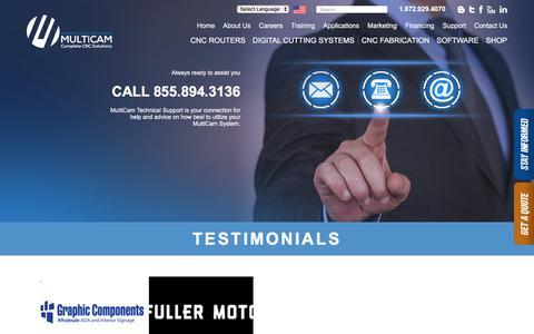 Screenshot of Testimonials Page multicam.com - Testimonials | Complete CNC Solutions | MultiCam - captured Sept. 25, 2018