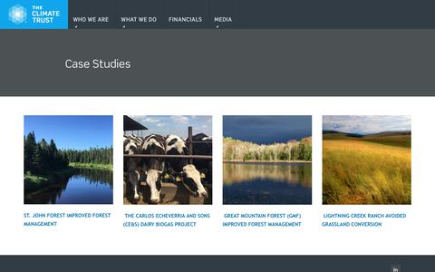 Screenshot of Case Studies Page climatetrust.org - The Climate Trust | Case Studies - captured July 22, 2019