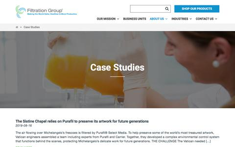 Screenshot of Case Studies Page filtrationgroup.com - Case Studies Archive - Filtration Group - captured Sept. 22, 2019