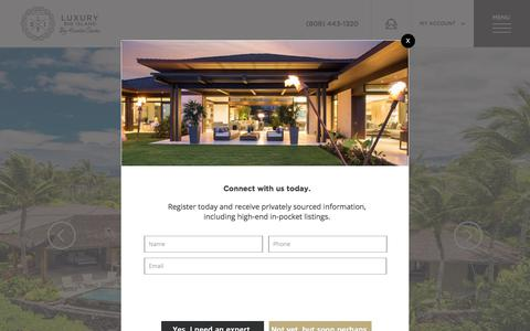 Screenshot of Home Page luxurybigisland.com - Big Island Real Estate For Sale | Hawaii Luxury Real Estate | Luxury Big Island by Harold Clarke - captured Sept. 26, 2018