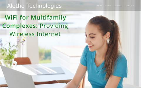 Screenshot of Home Page alethotech.com - Aletho Technologies – WiFi for multifamily - captured Oct. 3, 2018