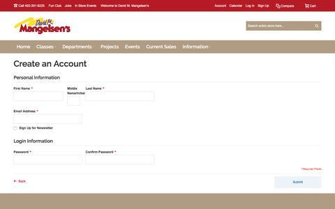 Screenshot of Signup Page mangelsens.com - Create New Customer Account | David M. Mangelsen's - captured Nov. 23, 2016
