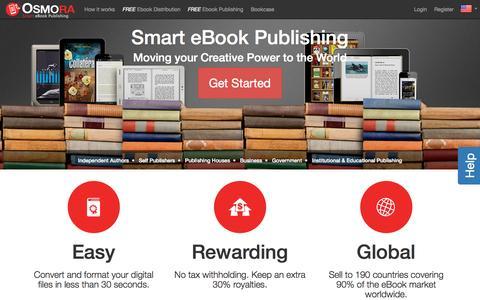 Screenshot of Home Page osmora.com - Smart eBook Publishing - Osmora Inc. - captured Oct. 9, 2015