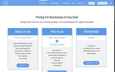 Screenshot of Pricing Page bringg.com - Pricing | Bringg – Delivering in the On-Demand Era - captured Nov. 21, 2015