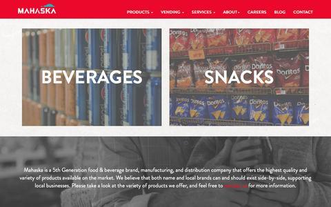 Screenshot of Products Page mahaska.com - Products | Mahaska Bottling Company - captured Feb. 4, 2016