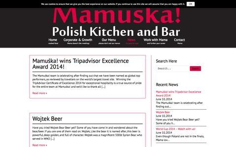 Screenshot of Press Page mamuska.net - News | Mamuśka! - Polish Kitchen and Bar - captured Oct. 4, 2014