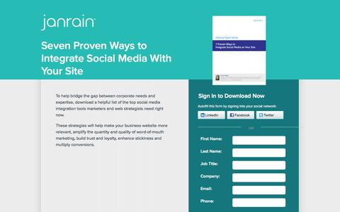 Screenshot of Landing Page janrain.com - Proven Ways to Integrate Social Media With Your Site | Janrain - captured Oct. 27, 2014