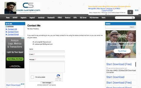 Screenshot of Contact Page code-sample.com - Contact Me   Angular 2 JavaScript ASP.Net C# SQL Server KnockoutJs AngularJs Kendo UI HTML 5 Web API WPF WCF etc. - captured April 15, 2016