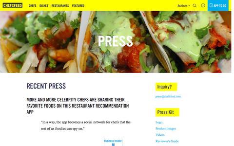 Screenshot of Press Page chefsfeed.com - Press | ChefsFeed - captured Dec. 2, 2015