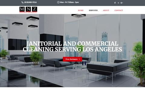Screenshot of Services Page mnz.com - Best Commercial Janitorial services in Los Angeles - captured Oct. 1, 2018