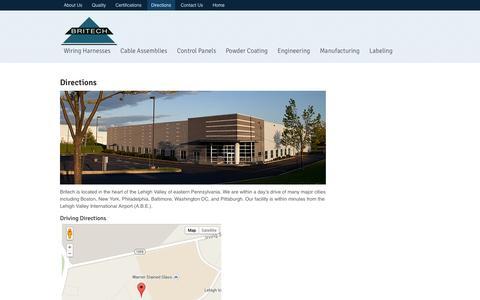 Screenshot of Maps & Directions Page britech.com - BRITECH  |  Directions - captured Oct. 5, 2014