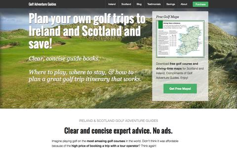Screenshot of Home Page golfadventureguides.com - Golf Adventure Guides - Trip Planning Guide Books for Ireland and Scotland Golf Trips - captured July 24, 2015