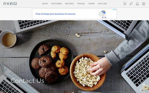 Screenshot of Contact Page food52.com - Contact Food52 - captured July 21, 2019