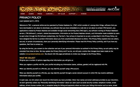 Screenshot of Privacy Page productmadness.com - productmadness-aristocrat - private policy - captured Sept. 19, 2014