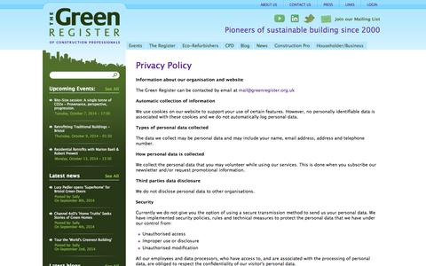 Screenshot of Privacy Page greenregister.org.uk - Privacy Policy | greenregister.org.uk - captured Oct. 6, 2014