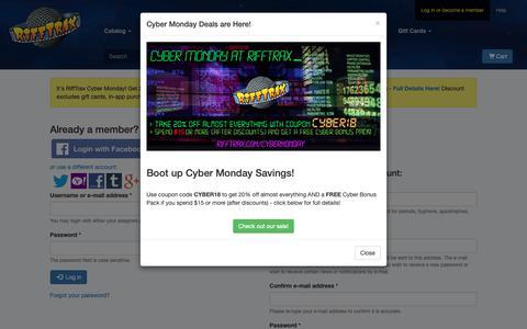 Screenshot of Login Page rifftrax.com - Get into RiffTrax! - captured Nov. 26, 2018