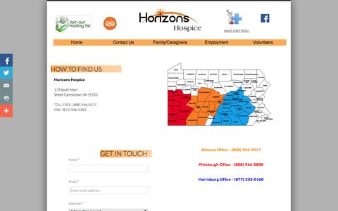 Screenshot of Privacy Page Contact Page horizonshospice.org - Contact Us - captured Oct. 22, 2014