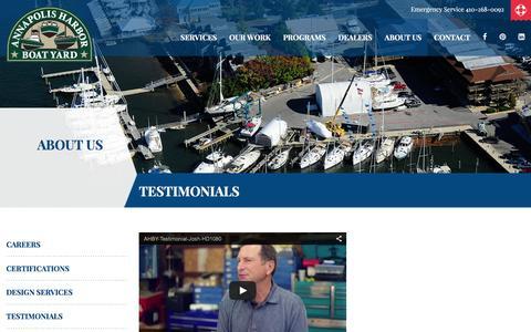 Screenshot of Testimonials Page annapolisharbor.net - Boats, Sailboats & Yachts Service Testimonials   Annapolis, MD - captured Feb. 6, 2016