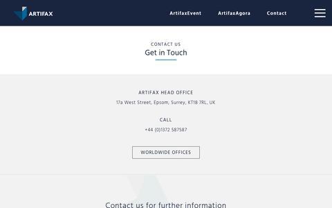 Screenshot of Contact Page artifax.net - Contact Artifax - captured Sept. 19, 2019