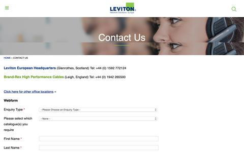 Screenshot of Contact Page brand-rex.com - Contact Us | Leviton Network Solutions Europe - captured Nov. 6, 2018
