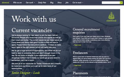 Screenshot of Jobs Page elmwood.com - Work with us | Elmwood — The world's most effective brand design consultancy - captured Sept. 19, 2014